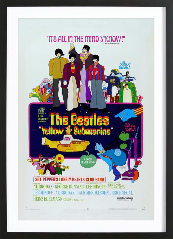 'Yellow Submarine' Retro Movie Poster -Bild mit Holzrahmen