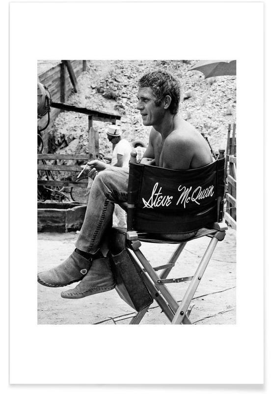 Steve McQueen taking a break, 1966 Poster