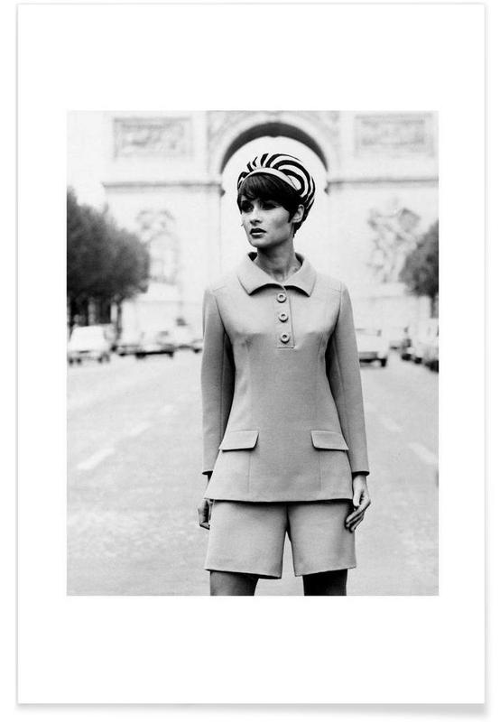 Outfit created by Pierre Balmain for airline hostesses of the future. Poster