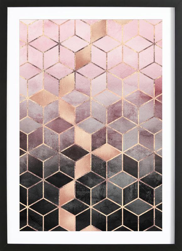 Pink Grey Gradient Cubes -Bild mit Holzrahmen