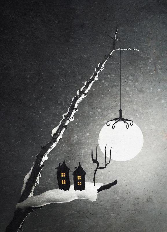 Winter Night canvas doek