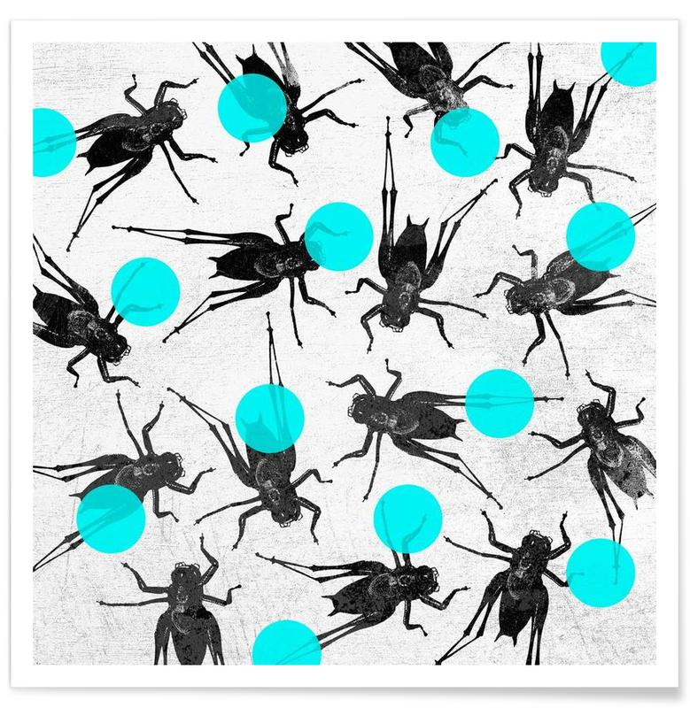 Grasshoppers and Dots Poster