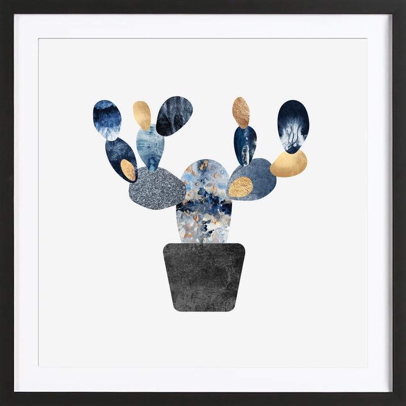Blue and Gold Cactus Framed Print