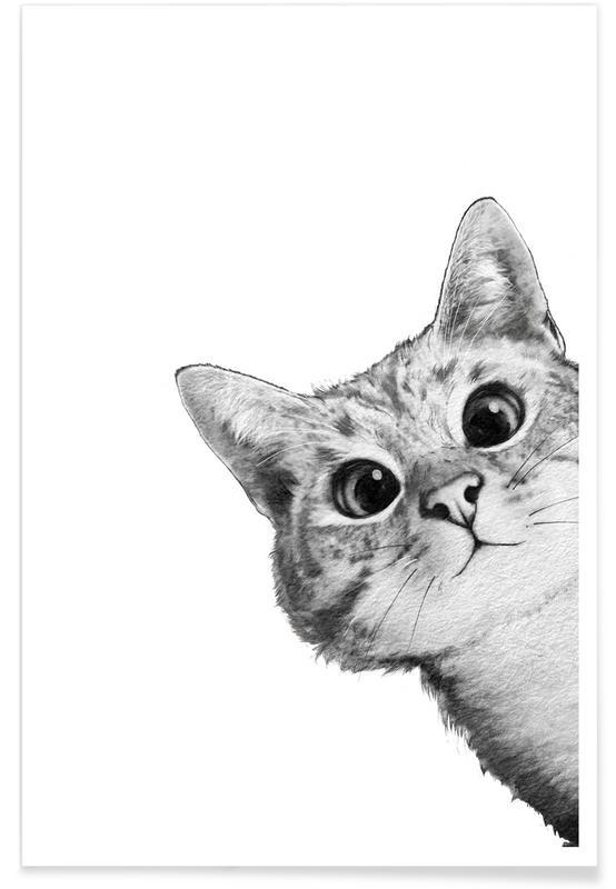Illustration de chat curieux affiche