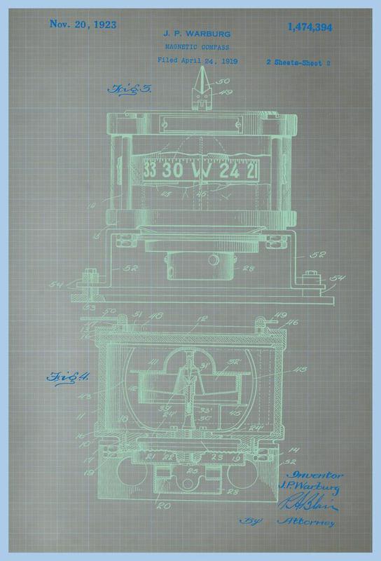 Magnetic Compass Profile Acrylglasbild | Dekoration > Bilder und Rahmen > Bilder | Mehrfarbig | Aluminium