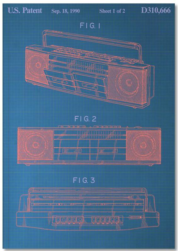 Vintage Boombox Premium Notizbuch | Dekoration > Aufbewahrung und Ordnung > Truhen