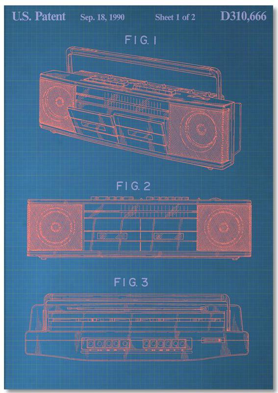 Vintage Boombox Notizblock | Dekoration > Aufbewahrung und Ordnung > Truhen | Mehrfarbig | Papier