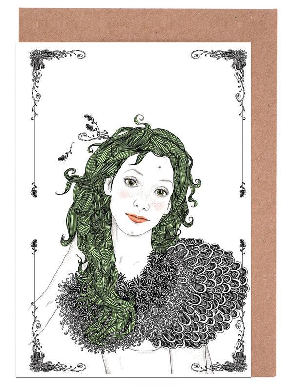 green hair Grußkartenset