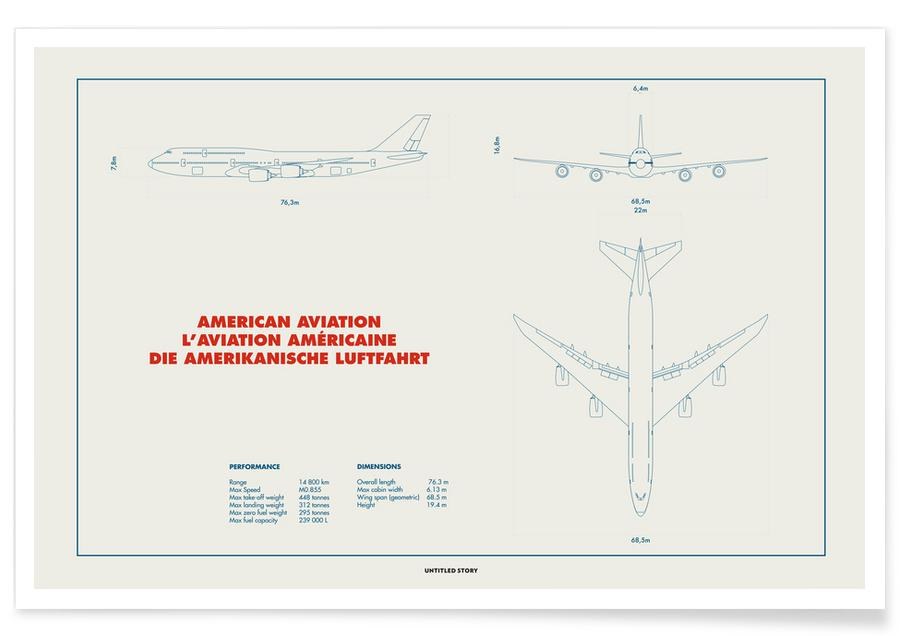 Technical Drawing 747 Poster