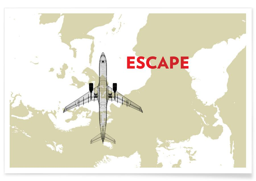 Escape Air Travel Map Poster