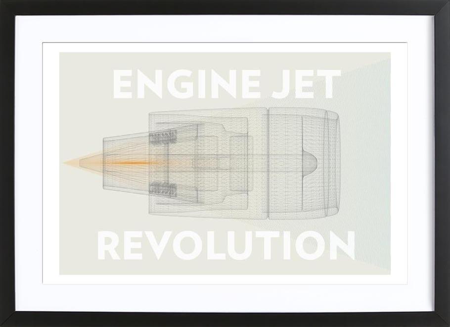 Engine jet revolution -Bild mit Holzrahmen