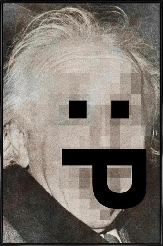 Retro Pop Emoticons Albert -Bild mit Kunststoffrahmen
