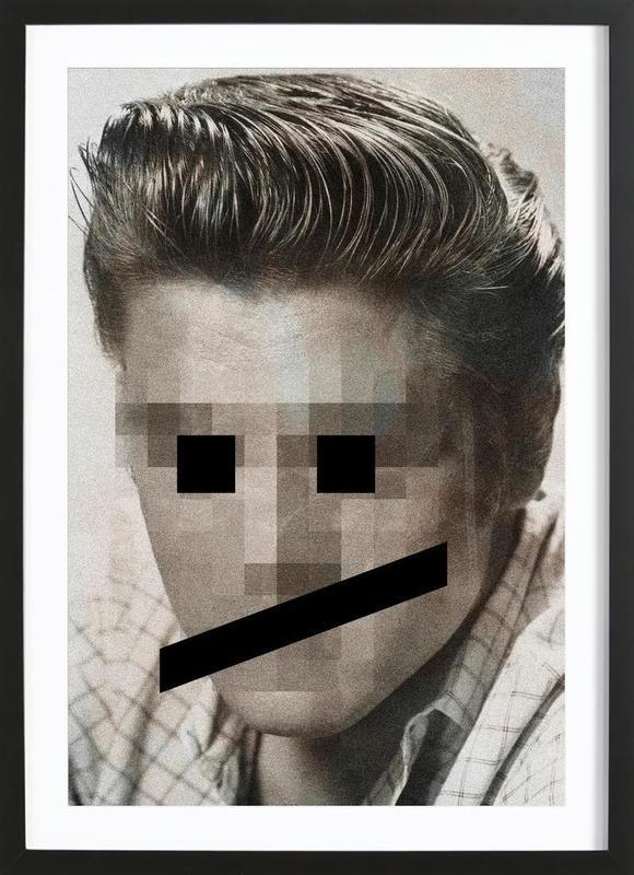 Retro Pop Emoticons Elvis -Bild mit Holzrahmen