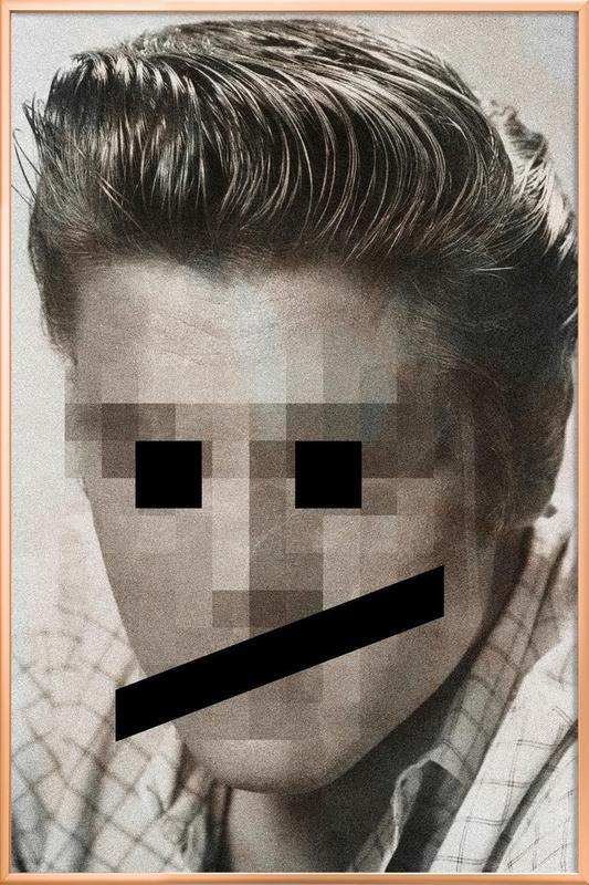 Retro Pop Emoticons Elvis -Poster im Alurahmen