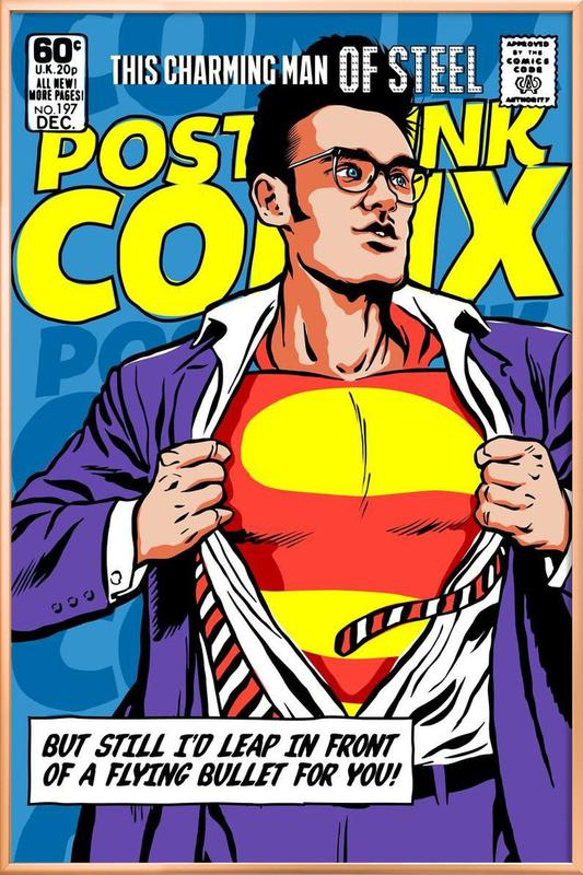 Post-Punk Comix- Super Moz - This Charming Man of Steel poster in aluminium lijst