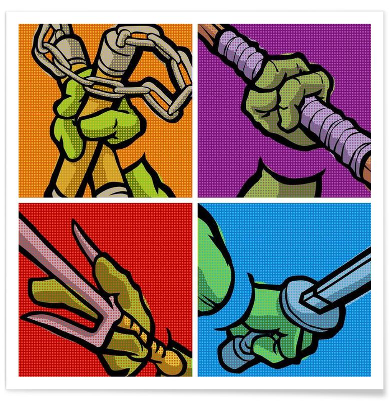 Lichtenstein Pop Martial Art Combo Poster