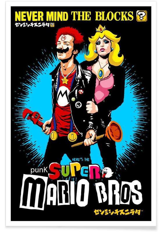 Punk Super Mario Bros - Never Mind the Blocks Poster