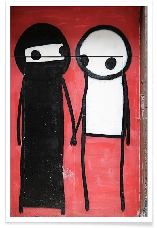Streetart Rot 1  Poster