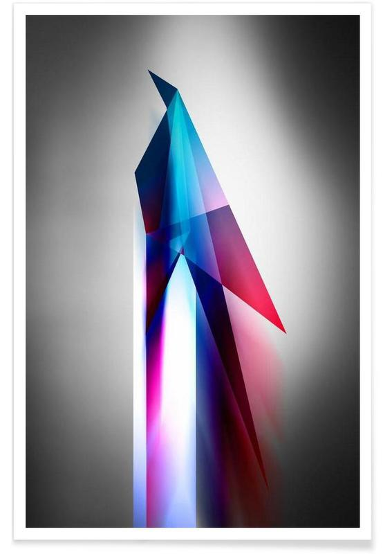 Origami Futurist Bird Poster