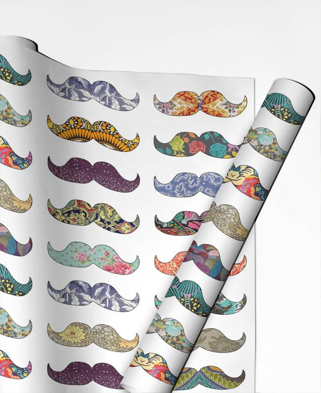 Mustache Mania Geschenkpapier | Weihnachten > Geschenkideen