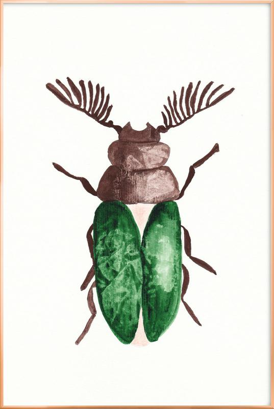 Greeny Beetle Poster in Aluminium Frame