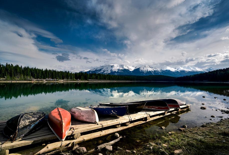 Canoes Alu Dibond Druck | Dekoration > Bilder und Rahmen > Poster | Mehrfarbig | Aluminium
