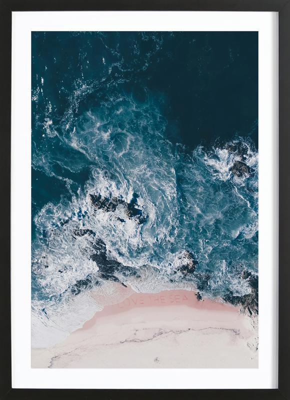 I Love The Sea -Bild mit Holzrahmen