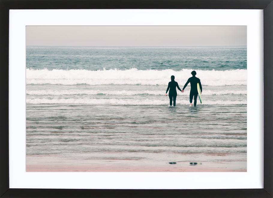 Surf Love affiche sous cadre en bois