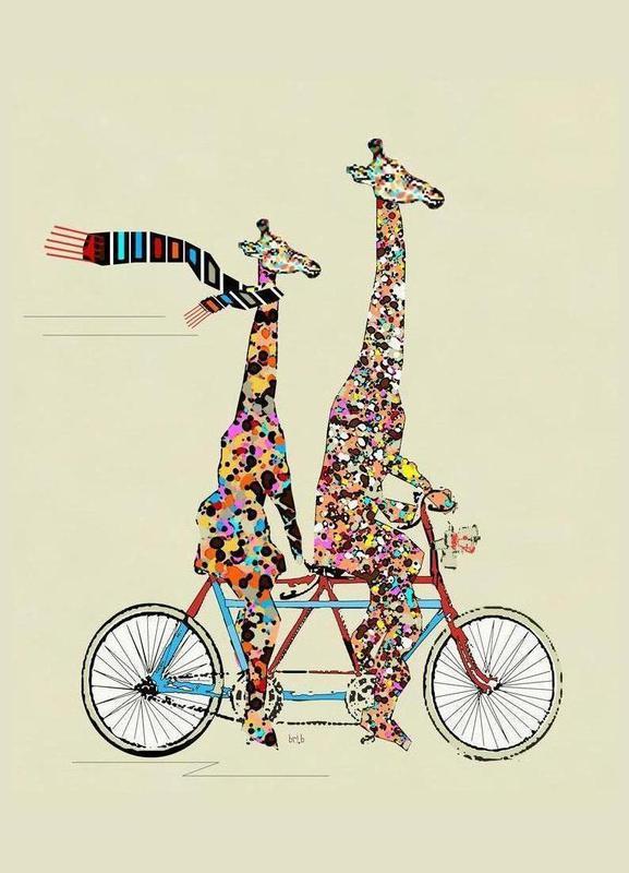giraffes days lets tandem Canvas Print