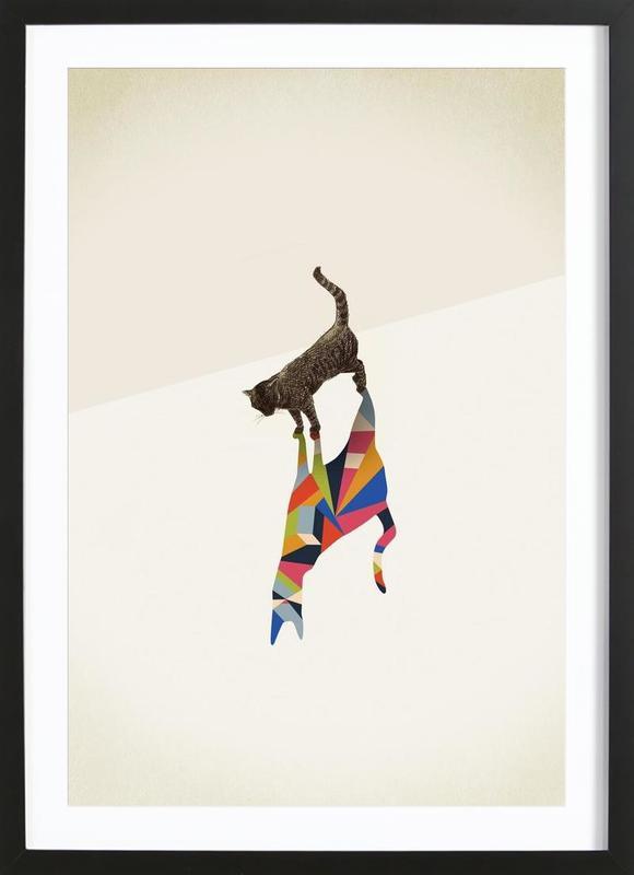 Walking Shadow - Cat -Bild mit Holzrahmen