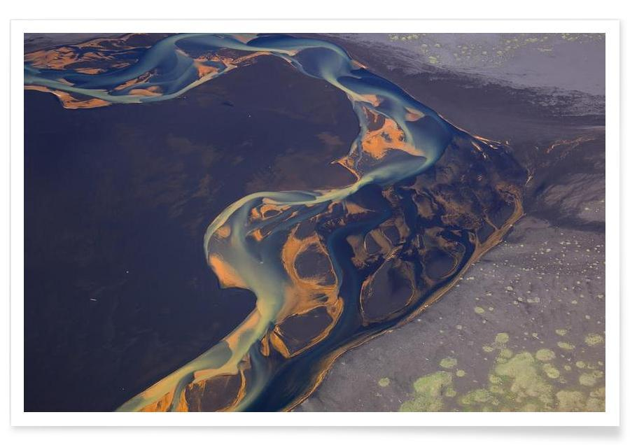 Color patterns of river on sand poster