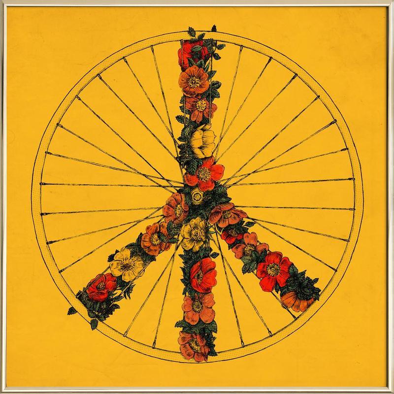 Peace & Bike -Poster im Alurahmen