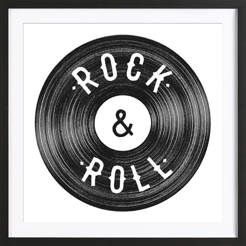 Rock & Roll affiche sous cadre en bois