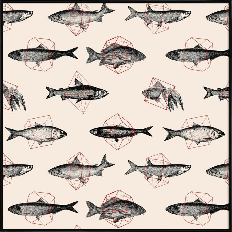 Fishes in Geometrics -Bild mit Kunststoffrahmen