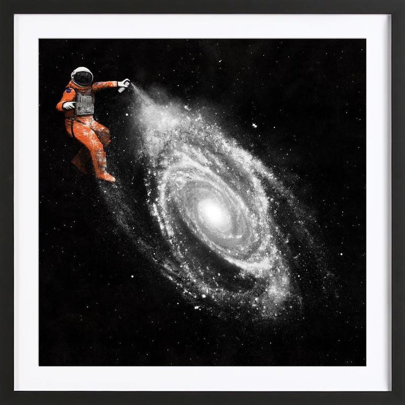 Space Art -Bild mit Holzrahmen
