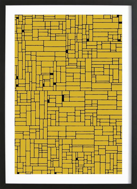 Computer Graphic yellow black Framed Print