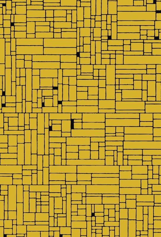Computer Graphic yellow black Aluminium Print