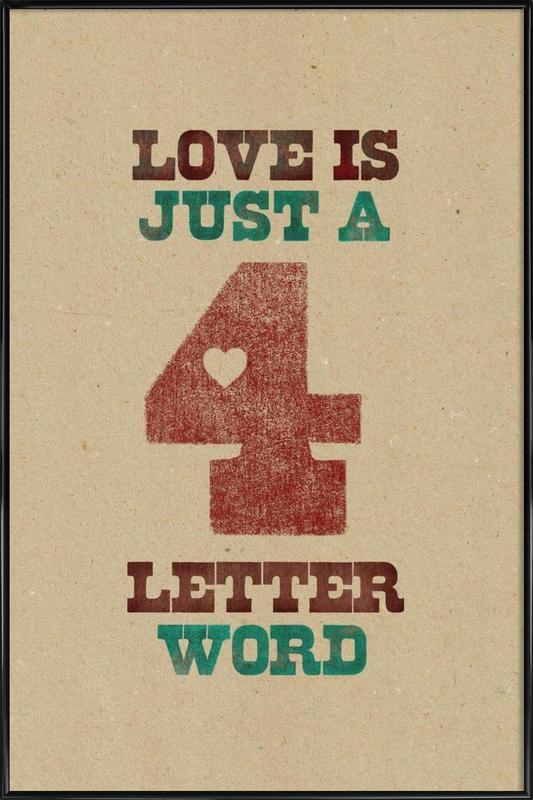 four letter word ingelijste poster