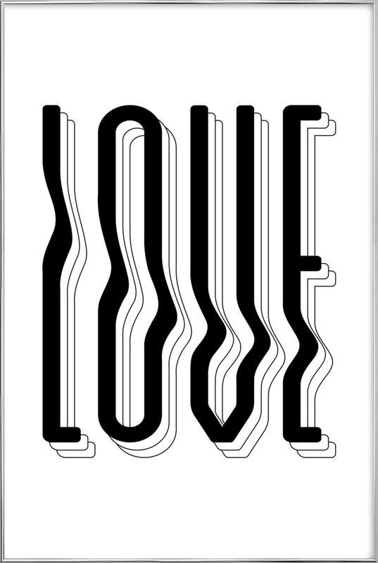 Love Wavy poster in aluminium lijst