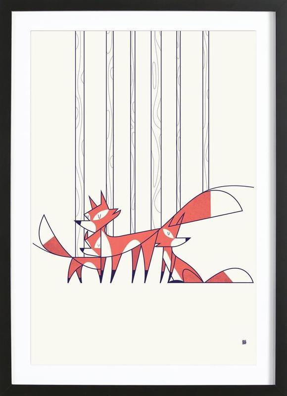 Foxes -Bild mit Holzrahmen