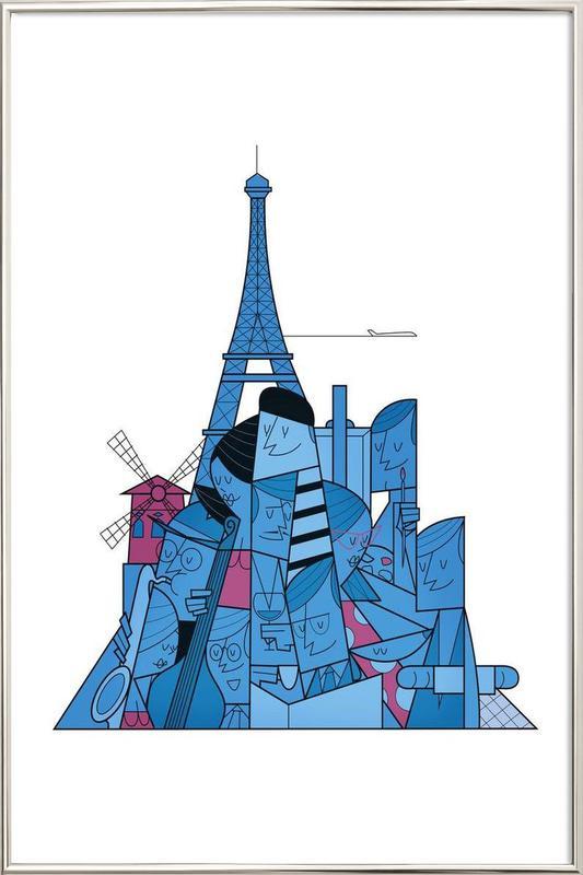Paris -Poster im Alurahmen