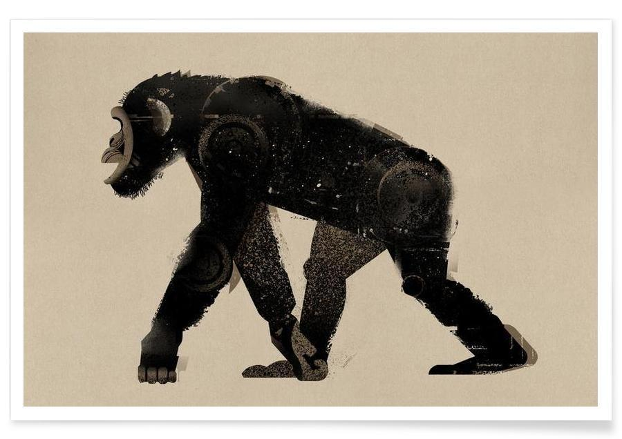 Vintage-Schimpanse -Poster