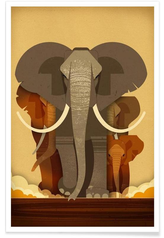 Vintage-Elefanten -Poster
