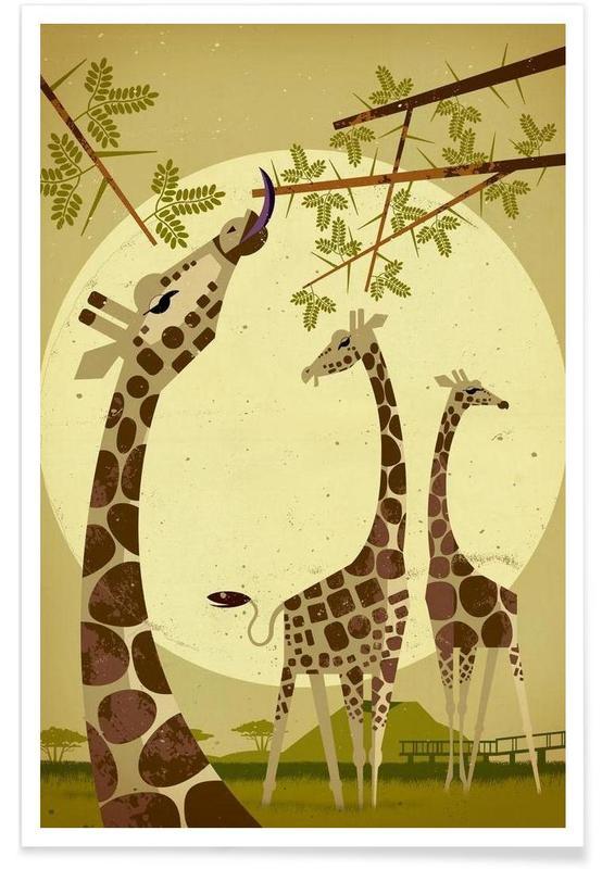 Vintage-Giraffen -Poster