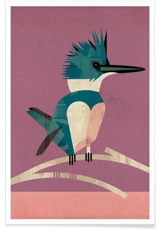 Vintage ijsvogel poster