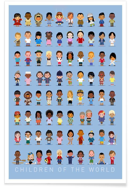 Vintage kinderen van de wereld poster