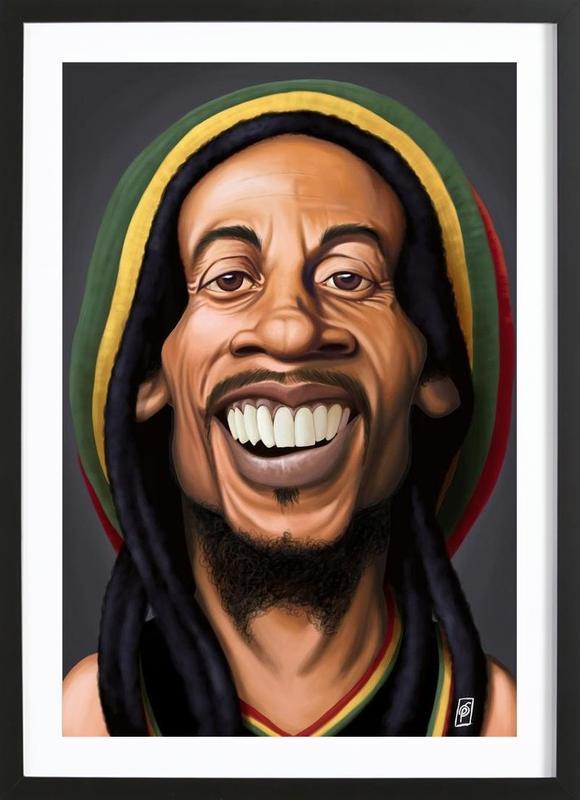 Bob Marley affiche sous cadre en bois