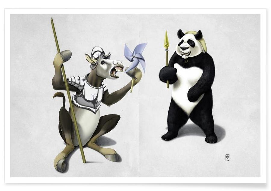 Donkey Xote and Sancho Panda Poster