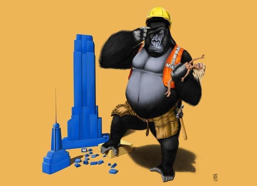 Building an empire (colored) -Leinwandbild