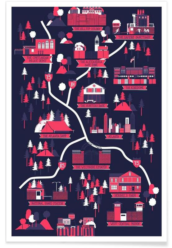 The Walking Dead map poster